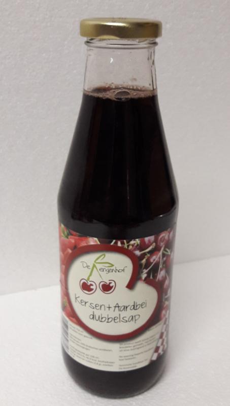 50% puur Kersensap + 50% puur Aardbeien 0,74 ltr De Kersenhof
