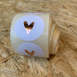 10 stickers Rosé goud hartje (goudfolie)