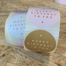 10 stickers rond groot, Happy birthday to you