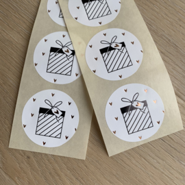 10 Stickers cadeautje goudfolie