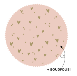10 stickers rond roze hartjes (goudfolie)
