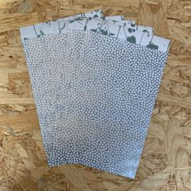 5 Cadeauzakjes A6 blauw/salie met stipjes