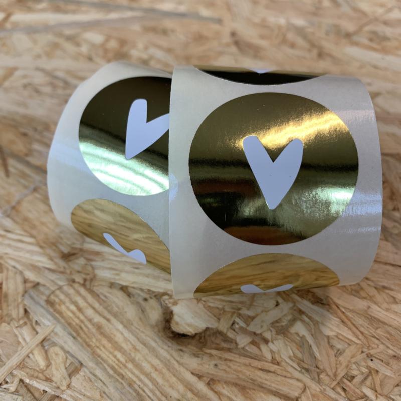 10 stickers Goud met wit hartje (goudfolie)