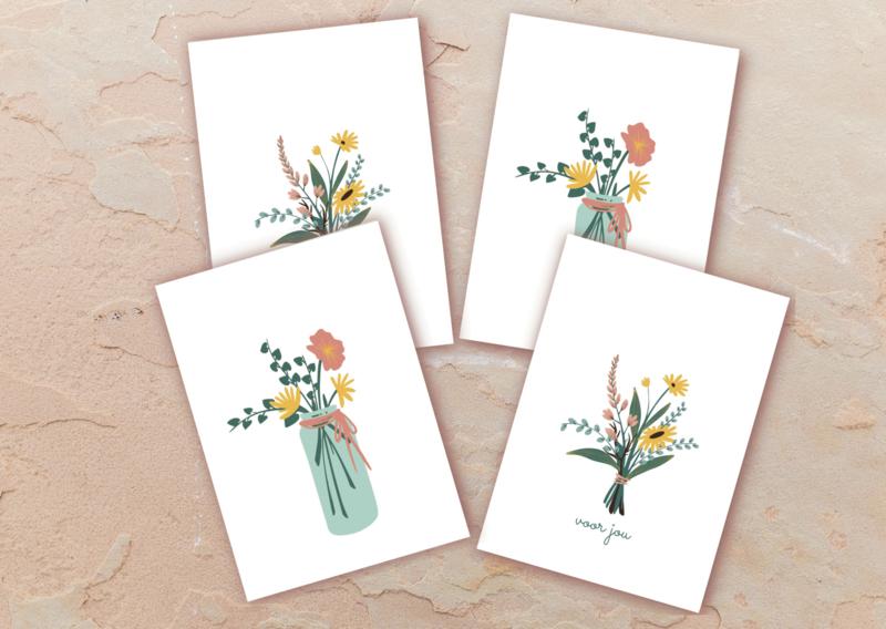 Set 4 kleine kaartjes bloemen