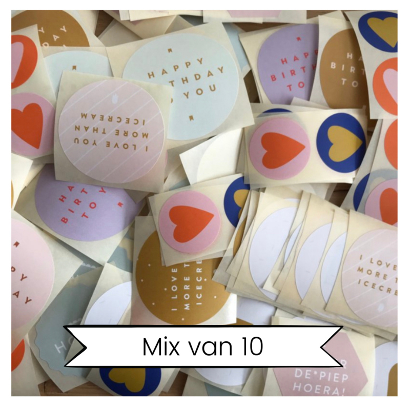Mixzakje met 10 stickers