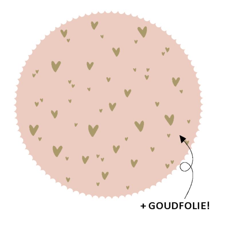 10 stickers rond roze hartjes
