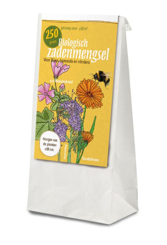 Gifvrij zadenmengsel voor bijen, hommels en vlinders 50 gram in katoen voor bruiloft, normale sticker