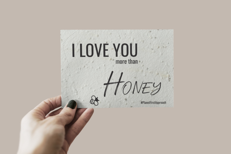 Bijen bloemen groeikaart 3 stuks I love you more than honey