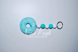 Sleutelhanger donut turquoise/wit