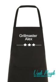 """Gepersonaliseerde schort """"Grillmaster"""" met naam"""