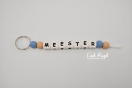 Sleutelhanger meester blauw/bruin