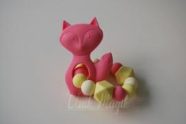 Bijtring vosje roze & geel