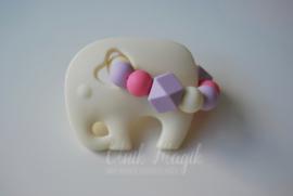 Bijtring olifant ecru & lila