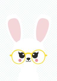 Postkaart konijn met bril