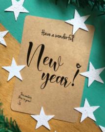 """Kerst bloeiconfetti kaart """"Have a wonderful new year"""""""