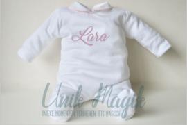 Baby pyjama roze piqué gepersonaliseerd met naam