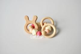 Rammelaar konijn ecru & roze