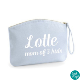 "Gepersonaliseerd tasje ""mom of ... kids"""