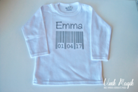 Gepersonaliseerde t-shirt  met naam en geboortedatum