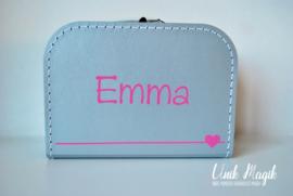 Koffertje met naam en hartje