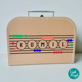 Koffertje ontwerp naar geboortekaartje
