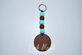 Sleutelhanger koekje bruin/turquoise