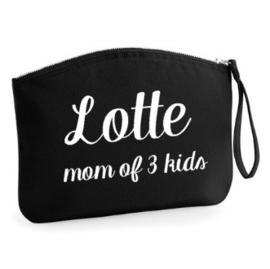 """Gepersonaliseerd tasje """"mom of ... kids"""""""