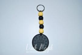 Sleutelhanger koekje zwart/geel