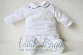 Baby pyjama navy piqué gepersonaliseerd met naam