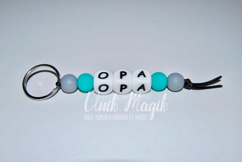 Sleutelhanger opa grijs/turquoise