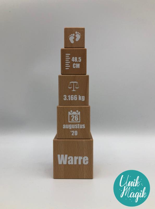 Gepersonaliseerde houten blokkentoren