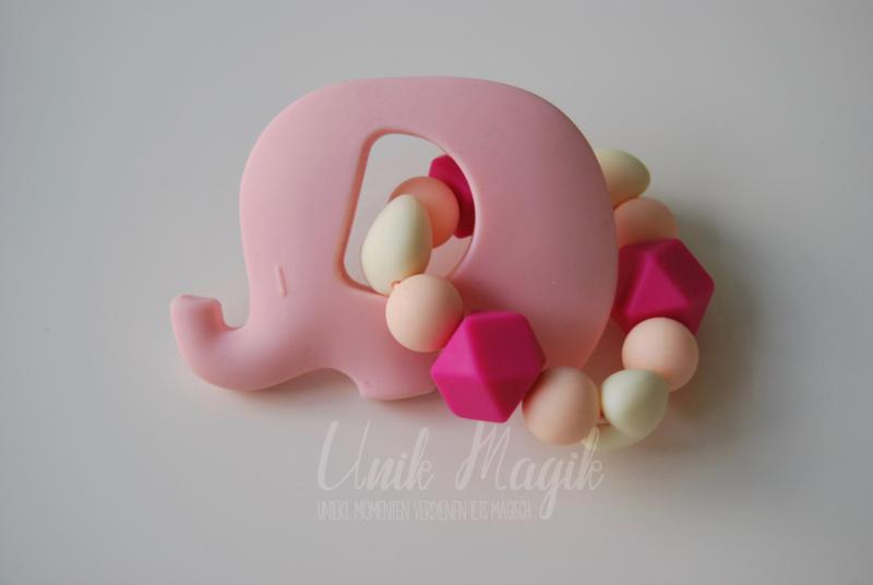 Bijtring olifant roze & ecru