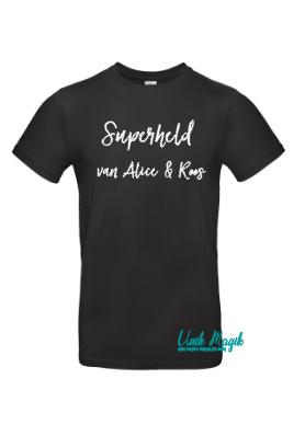 """Gepersonaliseerde t-shirt """"Superheld van..."""" met 2 namen"""