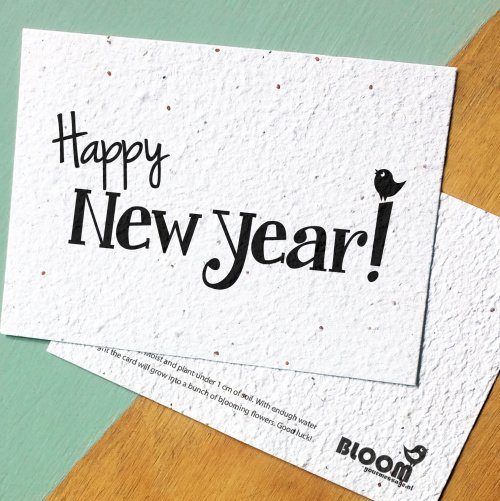 "Kerst bloeikaart ""Happy new year"""