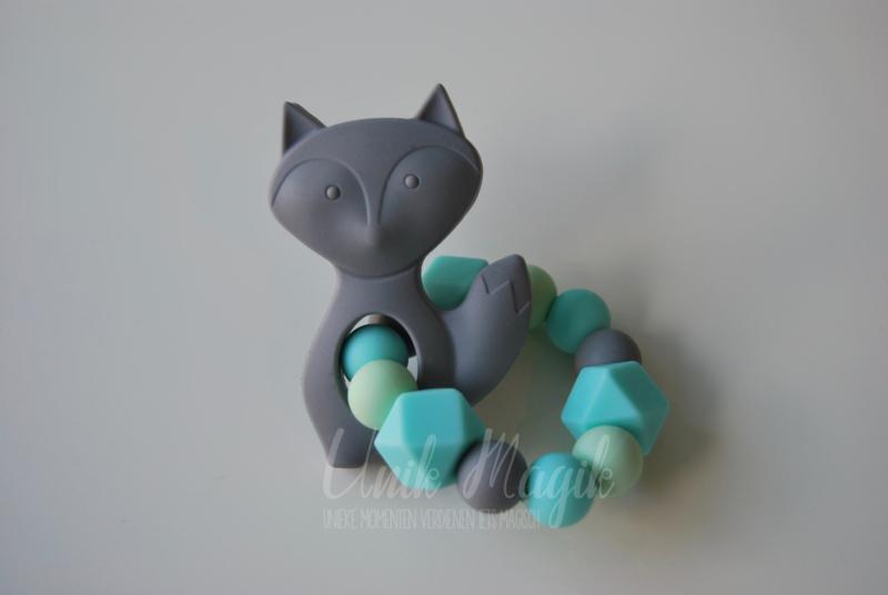 Bijtring vosje grijs & turquoise