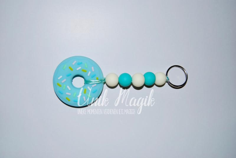 Sleutelhanger donut turquoise/ off white