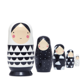 Petit Monkey Nesting Dolls XL zwart wit