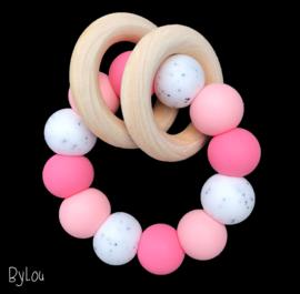 Bijtring roze graniet