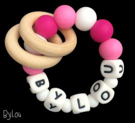 Bijtring met naam roze / wit