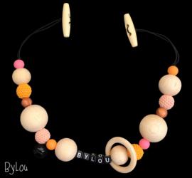 Maxicosi spanner met naam oranje/brons/roze
