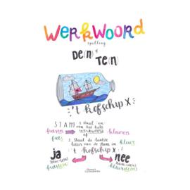 A4 poster - Werkwoordspelling - Te(n) of De(n) - 't Kofschip x - Klassenset (15 st.)