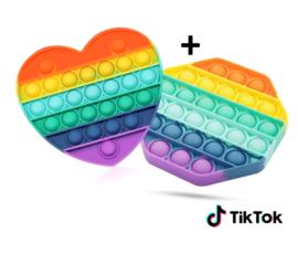 Pop-it rainbow voordeel: hart + achthoek