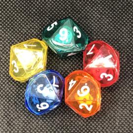 10 kantige dobbelsteen in  dobbelsteen, set van 5 (SET van 5 st.)