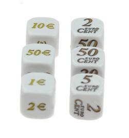 Reken dobbelstenen: euro's en centen (SET van 6 st.)