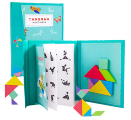 Tangram (magnetisch) met boekje met 96 opdrachten