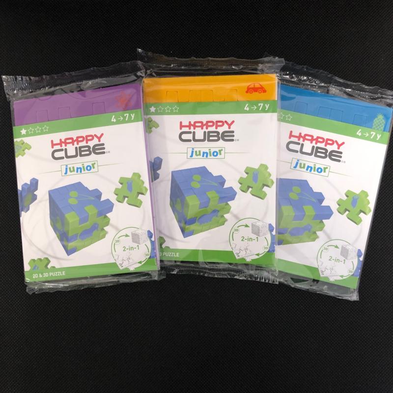 Happy Cube Junior - set van 3 (paars, blauw, geel)