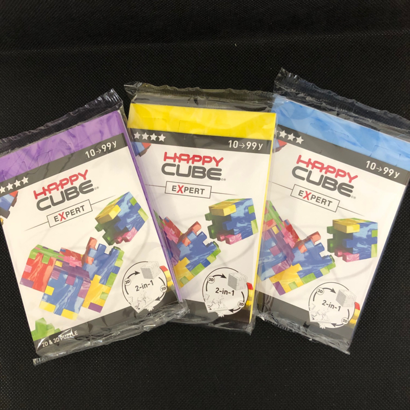 Happy Cube Expert - set van 3 (paars, blauw, geel)