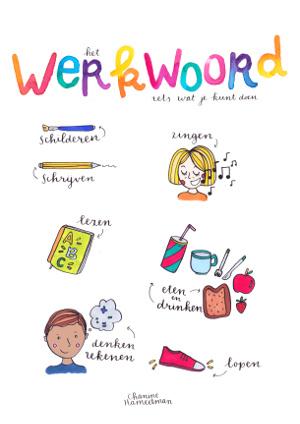 A2 poster - Taal - het Werkwoord