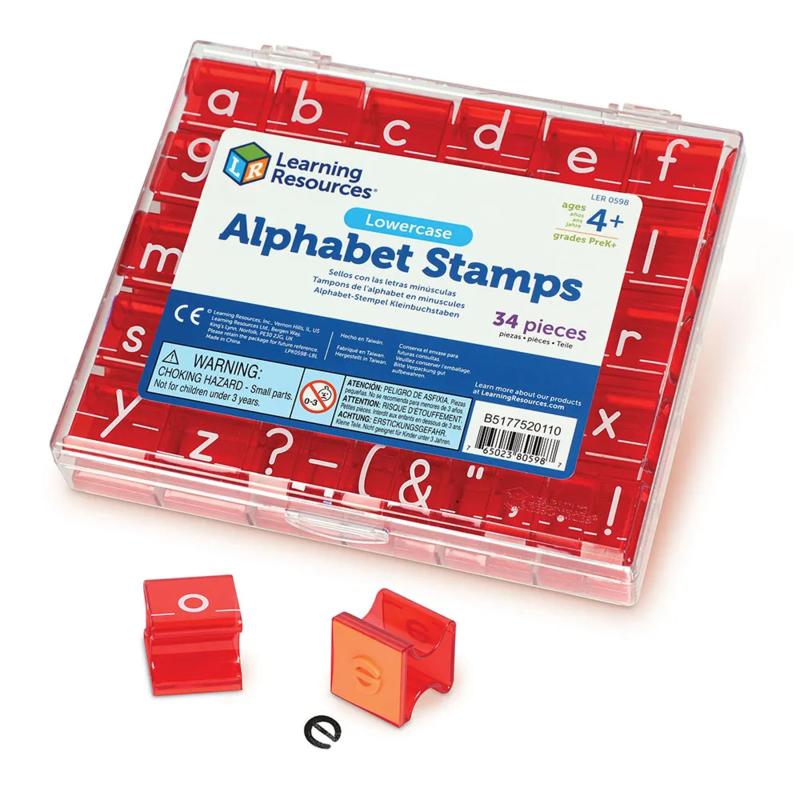 Alfabet stempels: kleine letters en leestekens (34 stuks)