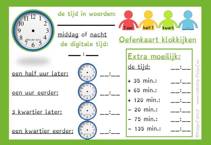 Oefenkaart / wisbordje klokken